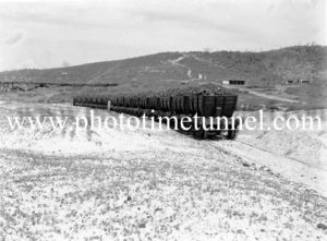 Glenrock colliery coal train at Merewether Beach, March 1944.