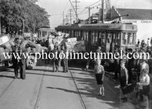 Tram and truck in collision on Maitland Road, Islington, Newcastle, NSW, October 1940. (7)
