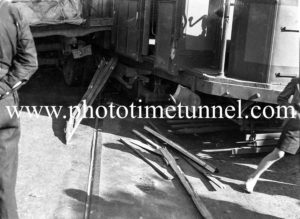 Tram and truck in collision on Maitland Road, Islington, Newcastle, NSW, October 1940. (9)