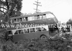 Double-decker bus after an accident at Dudley, Newcastle, NSW, November 20, 1941. (2)