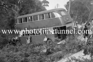 Double-decker bus after an accident at Dudley, Newcastle, NSW, November 20, 1941. (3)