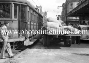 Accident between a truck and a tram in Hunter Street, Newcastle, NSW, April 19, 1945.