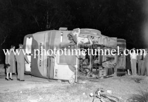 Double-decker bus after an accident at Swansea, Newcastle, NSW, August 23, 1942. (3)