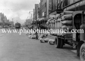 Truck has lost its load in Hunter Street, Newcastle, NSW, April 30, 1947.