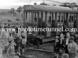 Damaged tram after a smash at Jesmond, Newcastle, NSW. Circa 1941.