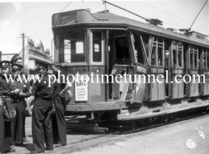 Damaged tram after an accident in Newcastle, NSW, October 20, 1949. (1)