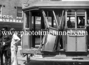 Damaged tram after an accident in Newcastle, NSW, October 20, 1949. (4)
