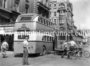 Accident between a double-decker bus and a tram in Hunter Street, Newcastle, NSW.