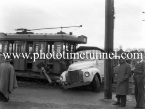 Accident between a tram and a truck at Jesmond crossing, Newcastle, NSW, June 7, 1949. (1)