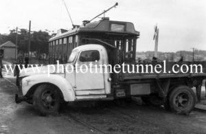 Accident between a tram and a truck at Jesmond crossing, Newcastle, NSW, June 7, 1949. (2)
