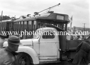 Accident between a tram and a truck at Jesmond crossing, Newcastle, NSW, June 7, 1949. (3)