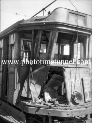 Tram damaged in an accident at Newcastle, NSW.