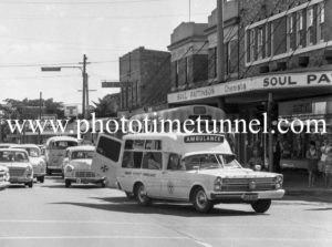 Ford ambulance attending an accident at Hamilton, Newcastle, NSW, April 20, 1968.