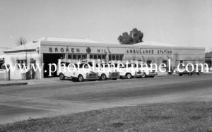 Ambulances at ambulance station, Broken Hill, NSW, c1960s.