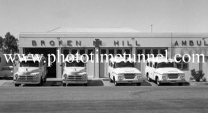 Front view of ambulances at ambulance station, Broken Hill, NSW, c1960s.