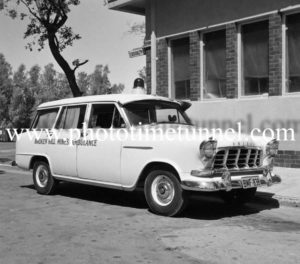 Mines ambulance at Broken Hill, NSW, c1960s.