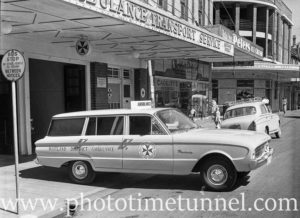 Ford Falcon ambulance at Maitland, NSW, October 12, 1961.