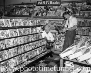 The romance novel aisle in Poole's newsagency, Adamstown, Newcastle, NSW, in the 1960s.
