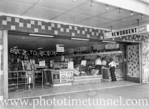 Shopfront of Poole's newsagency, Adamstown, Newcastle, NSW, in the 1960s.