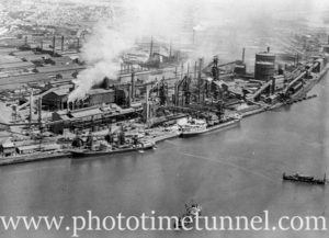 Aerial view of BHP's steelworks at Newcastle, NSW. Circa 1960s.