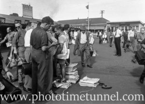 Newspaper vendors at BHP's steelworks at Newcastle, NSW, March 1, 1960. (1)