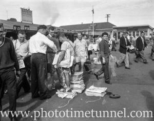 Newspaper vendors at BHP's steelworks at Newcastle, NSW, March 1, 1960. (2)