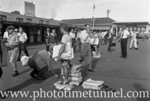 Newspaper vendors at BHP's steelworks at Newcastle, NSW, March 1, 1960. (5)