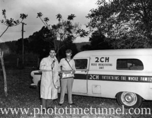 Reporters with a 2CH mobile broadcasting van at Wyong for the search for escaped criminal Kevin Simmons, November 5, 1959.