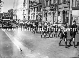 Youth group march in Hunter Street, Newcastle, NSW, circa 1940s.