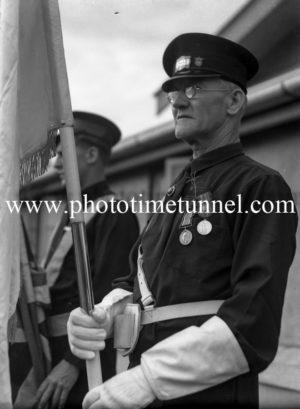 Anzac Day service at the tram depot, Hamilton, Newcastle, NSW. Circa 1940s. (1)