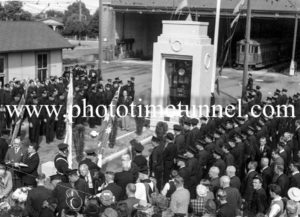 Anzac Day service at the tram depot, Hamilton, Newcastle, NSW. Circa 1940s. (2)