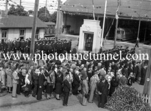 Anzac Day service at the tram depot, Hamilton, Newcastle, NSW. Circa 1940s. (3)