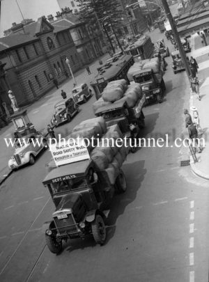 Vehicle procession in Hunter Street, Newcastle, NSW for National Road Safety Week, November 6, 1936.