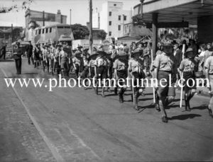 Boy scouts marching in Hunter Street, Newcastle East, NSW, March 7, 1943. (3)