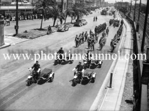 Funeral procession of police Sergeant A.L. Luton, in Hunter Street, Newcastle, NSW, January 28, 1944.