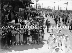 Catholic Church members in procession at Newcastle, NSW, during the 1938 Eucharistic Congress. (2)