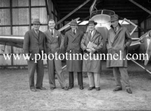 Members of the Mackay aerial expedition to Central Australia, in Newcastle, NSW, July 22, 1935. (3)