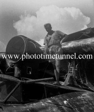 John Cain on a PBY Catalina flying boat on Stoney Creek, Lake Macquarie, March 25, 1947. (3)