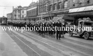 Sailors marching in Hunter Street, Newcastle, NSW, on October 21, 1943.