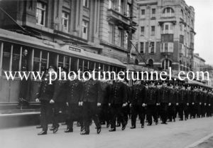 Police march in Hunter Street, Newcastle, NSW, June 1935.