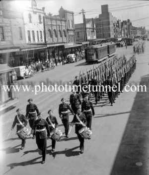 Military march in Hunter Street, Newcastle, NSW, September 28, 1945.