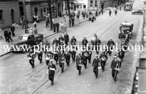 Military brass band in Hunter Street, Newcastle, NSW, March 22, 1948.