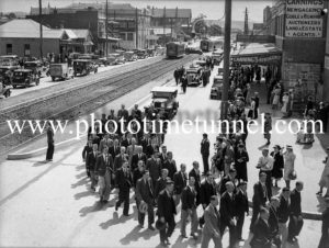 Funeral procession for shark victim John Welsh moving from Tudor Street Hamilton, (Newcastle, NSW) into Beaumont Street on February 15, 1937.