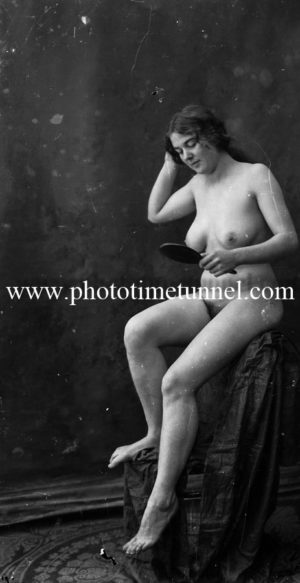 Vintage nude study of young woman with brush and mirror. (3)
