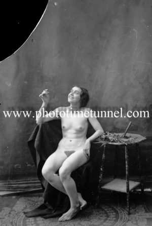 Vintage nude study of young woman with cigarette. (2)
