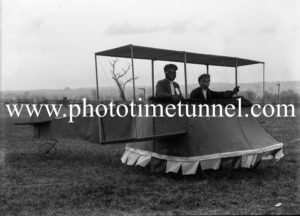 Mock aeroplane in patriotic parade at Raymond Terrace, NSW, circa 1915.