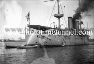 British warship HMS Challenger in Newcastle Harbour, NSW, May 1912. (2)