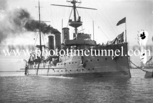 British warship HMS Challenger in Newcastle Harbour, NSW, May 1912. (3)