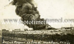 Tanker British Honour on fire at Wickham, Newcastle, NSW, February 24, 1930.