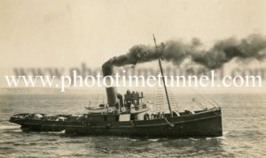 Tug Champion at the scuttling of HMAS Australia off Sydney Heads, April 12, 1924.